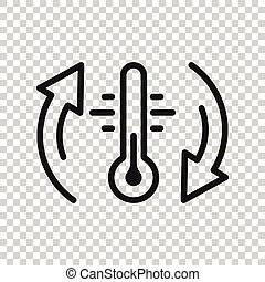 style., белый, температура, isolated, бизнес, термометр, background., контроль, значок, климат, вектор, холодно, concept., баланс, метеорология, горячий, квартира, иллюстрация