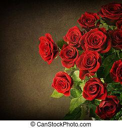 styled, bouquet., roses, красный, марочный, большой