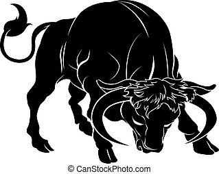 stylised, иллюстрация, бык