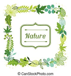 stylized, зеленый, leaves., задний план
