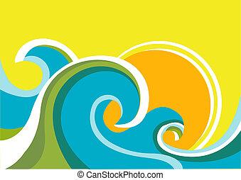 sun., цвет, задний план, море, waves, вектор, морской пейзаж, плакат, природа