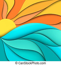 sunset., море, sunrise., задний план, waves