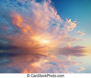 sunset., небо, задний план