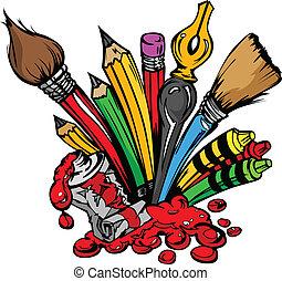 supplies, вектор, изобразительное искусство, мультфильм