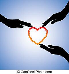 supporting, концепция, heart., сердце, иллюстрация, помощь, сломанный, графический, травма, исцеление, руки, эмоциональное, выздоравливать, боль, shows