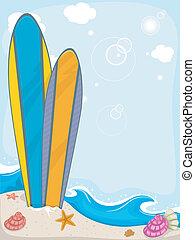 surfboards, задний план