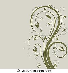 swirly, space., элемент, вектор, дизайн, цветочный, зеленый, копия