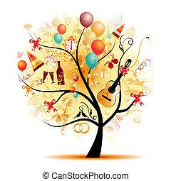 symbols, дерево, счастливый, праздник, день отдыха, веселая