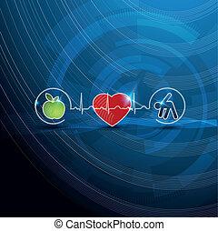 symbols, концепция, кардиология, здоровый, яркий, живой