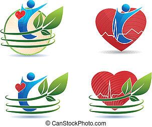 symbols, концепция, сердце, здоровый, здоровье, человек, забота