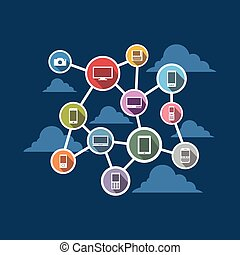 system., беспроводной, распределенный, connection.