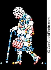 tablets, женщина, старый, pills
