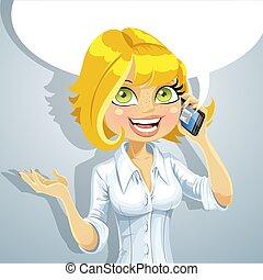 talking, девушка, блондин, телефон, милый