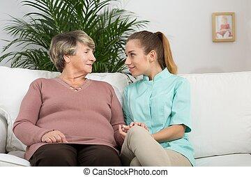 talking, медсестра, женщина, в отставке