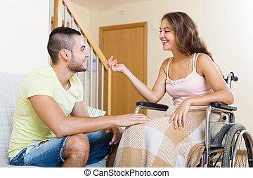 talking, счастливый, муж, жена