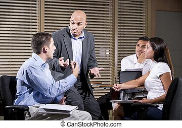 talking, workers, группа, менеджер, офис