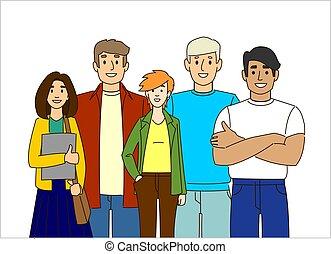 team., people., students., международный, группа, professionals., молодой