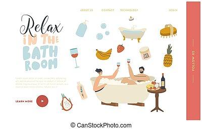 template., тело, медовый месяц, дата, или, пара, забота, расслабиться, релаксация, оздоровительный, страница, вино, сауна, спа, питьевой, ванна, посадка