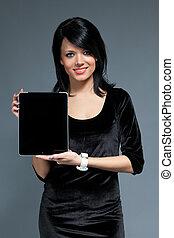 touchpad, новый, улыбается, девушка, сексуальный