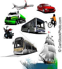 transport., все, вектор, виды, иллюстрация