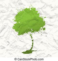 tree., crumpled, бумага, зеленый