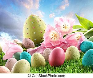 tulips, пасха, трава, eggs