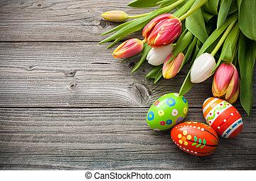 tulips, eggs, пасха