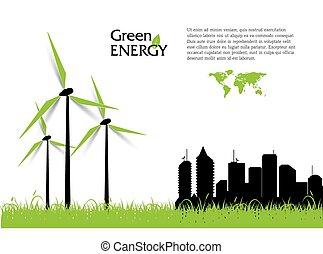 turbines, энергия, творческий, вектор, зеленый, concept., ветер