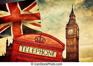 uk., союз, большой, англия, лондон, symbols, телефон, флаг, разъем, стенд, бен, красный