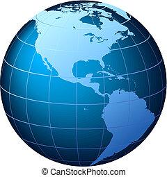 usa, земной шар, -, вектор, мировоззрение