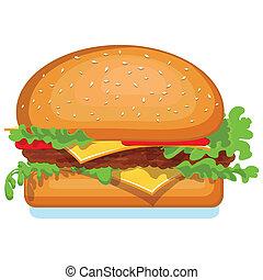 v, гамбургер, isolated, значок, white.