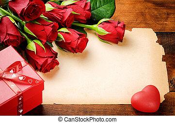 valentine's, марочный, рамка, roses, бумага, красный