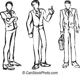 variants., бизнесмен, 3, е, монохромный