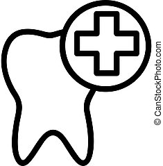 vector., зуб, contour, символ, иллюстрация, значок, лечение, isolated