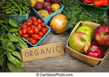 vegetables, органический, рынок, fruits