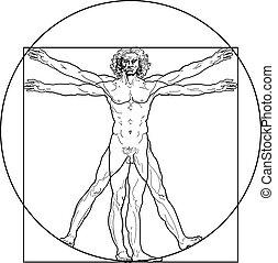 vitruvian, (outline, version), человек