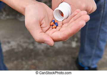 wants, мальчик, подросток, концепция, одиночество, подавленный, многие, недоразумение, отсутствие, интеграция, рука, tablets, взять, overdose.
