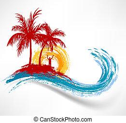 wave., против, океан, закат солнца, trees, пальма, человек
