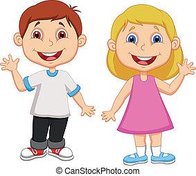 waving, мальчик, девушка, мультфильм, рука