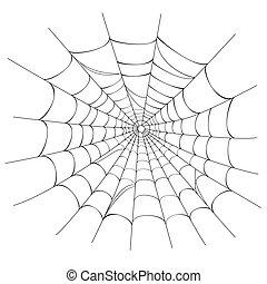 web, вектор, паук, белый