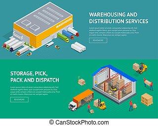web, изометрический, место хранения, оказание услуг, иллюстрация, выбирать, вектор, dispatch., склад, banners, обеспечение, пакет