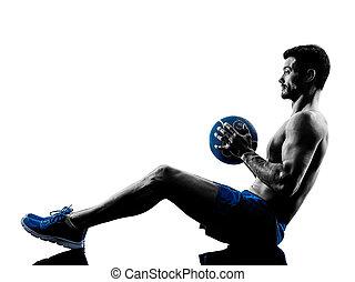 weights, человек, силуэт, exercising, фитнес
