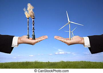 windmills, держа, энергия, воздух, очистительный завод, чистый, бизнесмен, concept., загрязнение