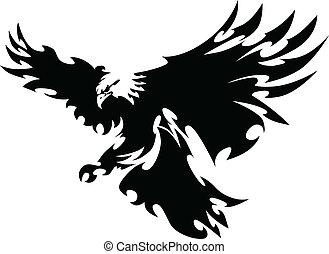 wings, орел, талисман, дизайн, летающий
