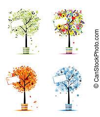 winter., изобразительное искусство, весна, -, pots, trees, 4, дизайн, осень, seasons, ваш, лето