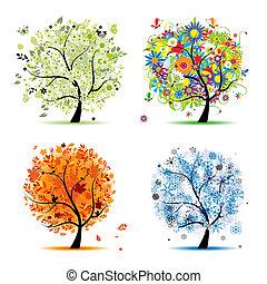 winter., красивая, изобразительное искусство, весна, осень, -, дерево, 4, дизайн, seasons, ваш, лето
