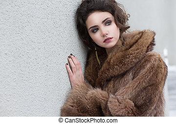 winter., красивая, мех, loneliness., пальто, женский пол, утонченный, шерсть