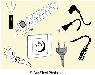 wires, plugs, электрический