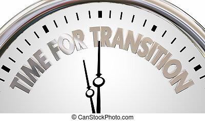 words, новый, эпоха, часы, изменение, время, переход, иллюстрация, 3d