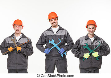 workers., промышленные, группа, над, isolated, задний план, белый